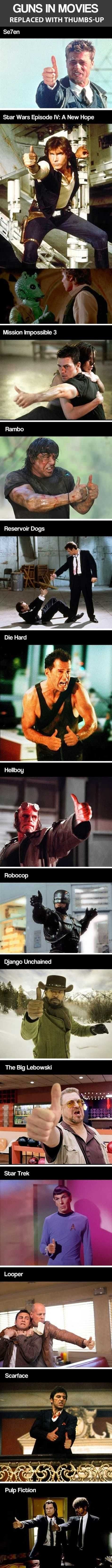 Guns in Movies Replaced with Thumbs-Up - Imgur