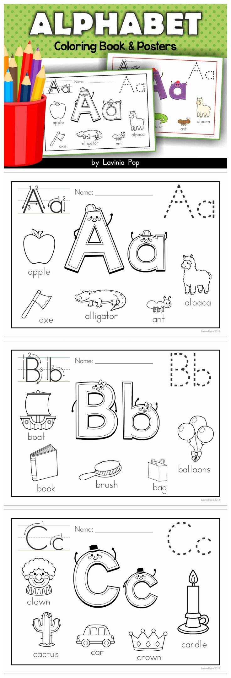 alphabet coloring book and posters