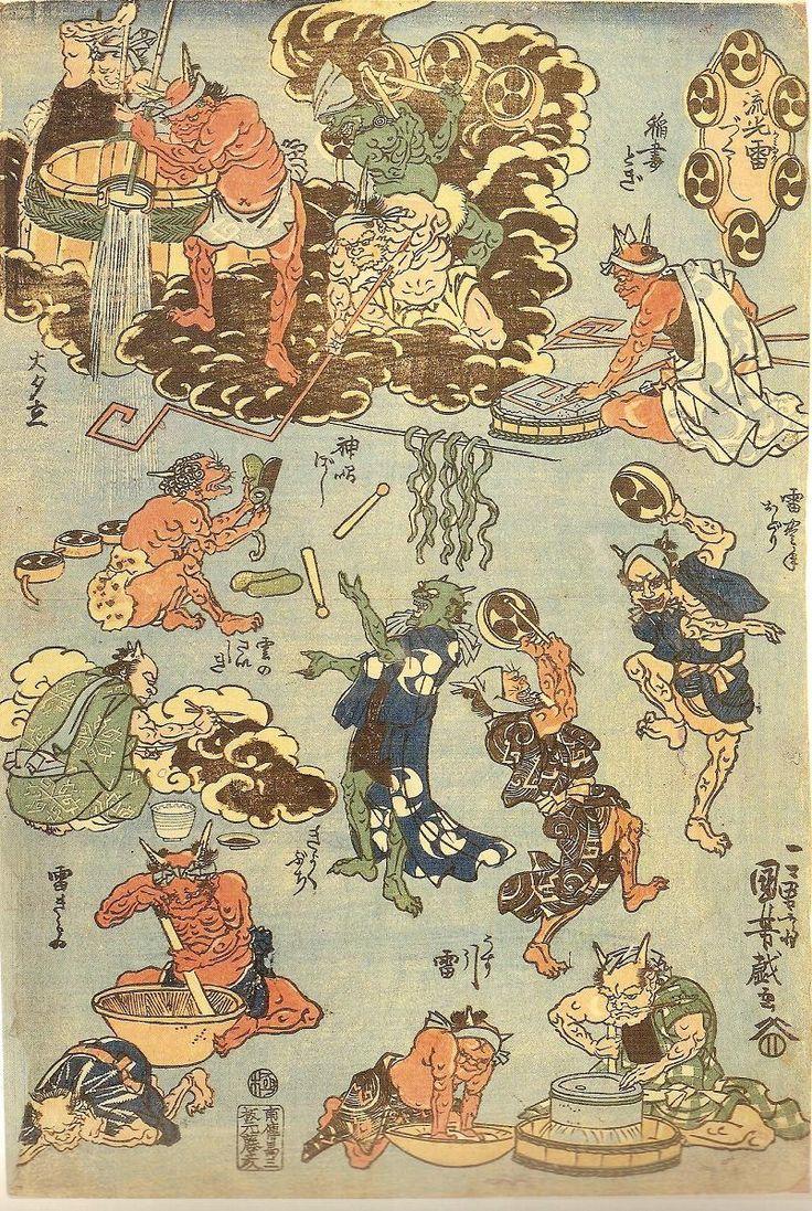 <流行 雷づくし :  RYUKO KAMINARI ZUKUSHI>  FASHIONABLE ASSORTMENT OF THUNDERBOLTS  KUNIYOSHI UTAGAWA  1798-1861  Last of Edo Period