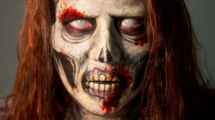 Professional Zombie special effects Makeup Idea & Video Tutorial.  Check out the amazing detail for the teeth, and around the mouth & lips / Paired with white frosty zombie contacts => http://www.pinterest.com/pin/350717889705763104/
