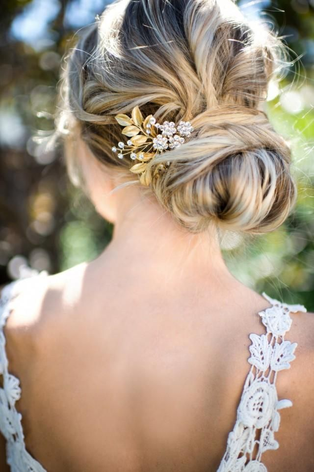 Gold Leaf Laurel Hair comb, Boho Bridal hair comb, Vintage Bridal Crystal haircomb, Bohemian Wedding Gold Hair accessory - 'AUGUSTINA'
