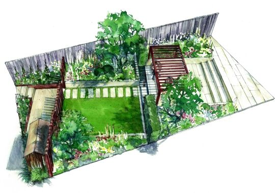 Perspective of the Squires Garden designed by Catherine MacDonald for RHS Hampton Court Flower Show