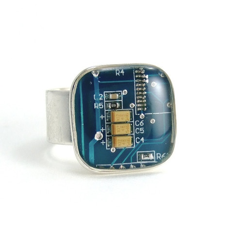 Circuit Board Ring -- Blue, Square Domed -- Techno Chic Jewelry