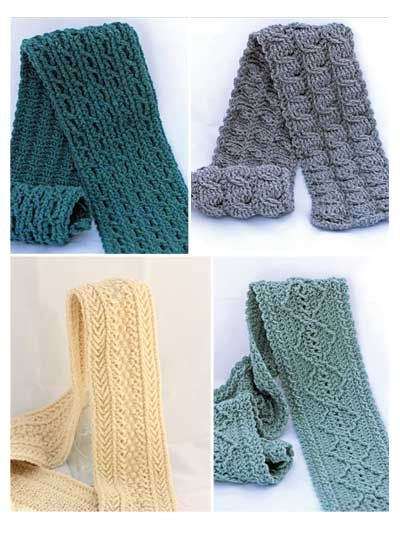 Crochet Scarf Patterns Worsted Weight : Four new crochet cabled scarf patterns! These warm scarves ...