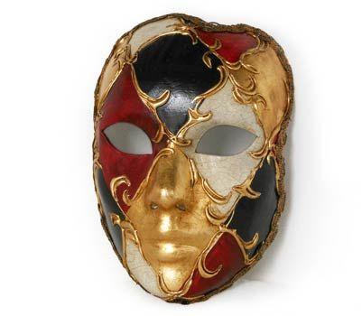 Volto rosso oro e nero maschera mask Maschera realizzata interamente a mano in cartapesta. Decorata con stucco e colori acrili ed impreziosita con la tecnica dello screpolato.