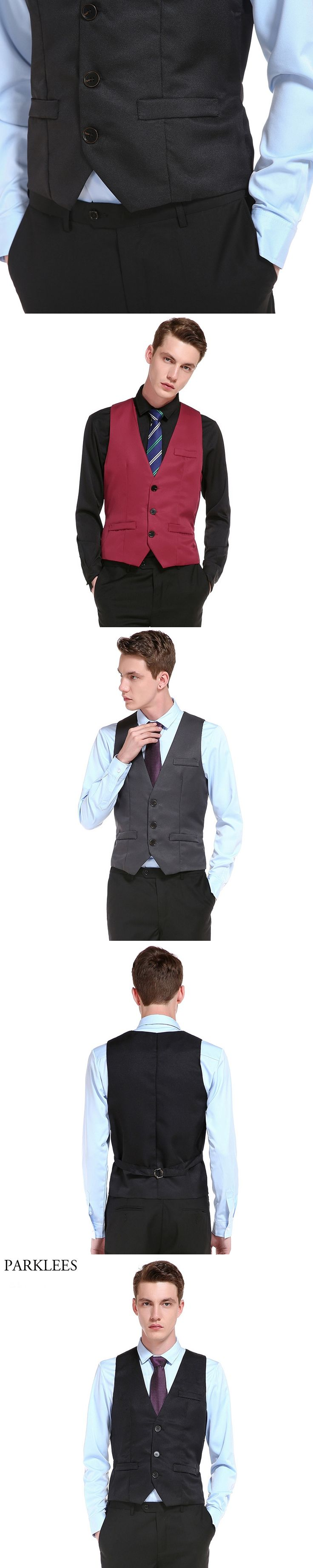 New Men Suit Vest Gilet Homme 2017 Fashion Business Casual Wedding Marriage Slim Fit Mens Vests Single Breasted Men Waistcoat