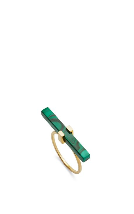 14K Yellow Gold Malachite Cross Bar Ring by Mateo for Preorder on Moda Operandi