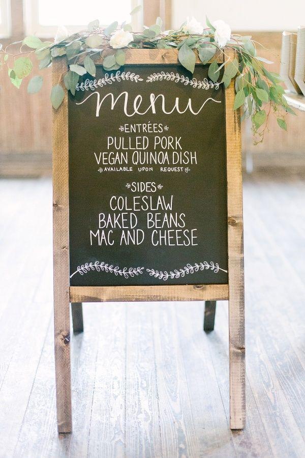 Rustic wedding menu: http://www.stylemepretty.com/ohio-weddings/columbus/2015/09/30/romantic-outdoor-bohemian-woodland-wedding/   Photography: Leigh Elizabeth - http://www.leighelizabeth.com/