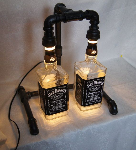 Lamp steampunk lamp jack daniels double muebles pipe for Meuble jack daniels