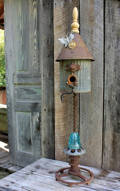 Repurposed/Upcycled Birdhouse~ This is a great bird house made from random old items.