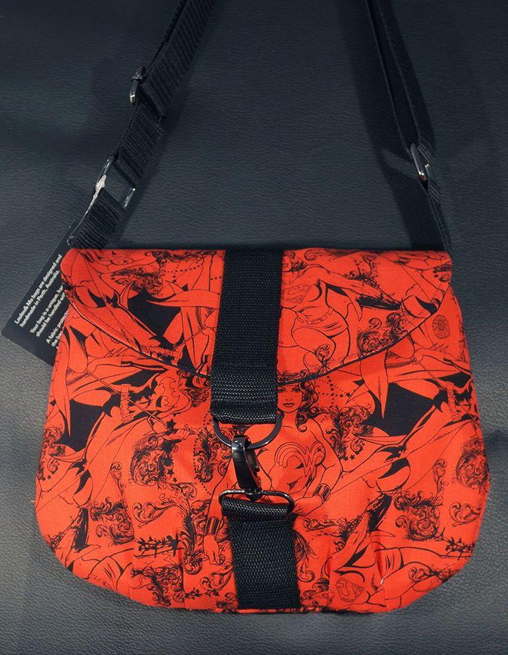 practical cross body bag in a wonder woman fabric