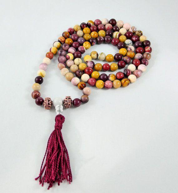 Mookaite 108 Stone Mala Necklace by beadonawiredotca on Etsy, $75.00