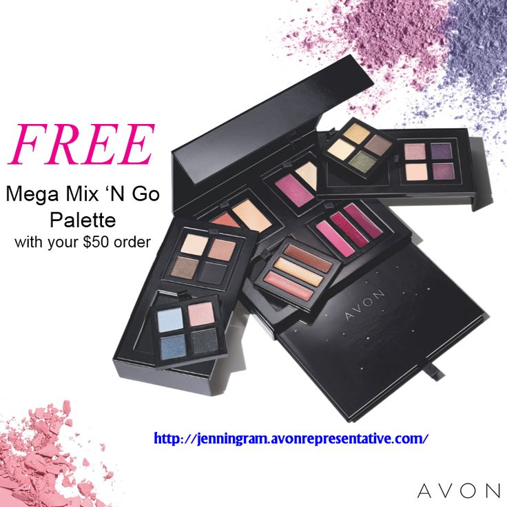 Weekend Deal! Get a FREE Mega Mix 'N Go Palette featuring 35 shades ($80 value!) with your $50 online order. Don't miss out, click here to shop: http://jenningram.avonrepresentative.com/