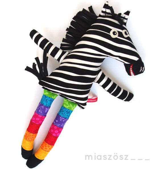 12 Handmade Unique Zebra toy  plush toy plushie softie by MiaZzz