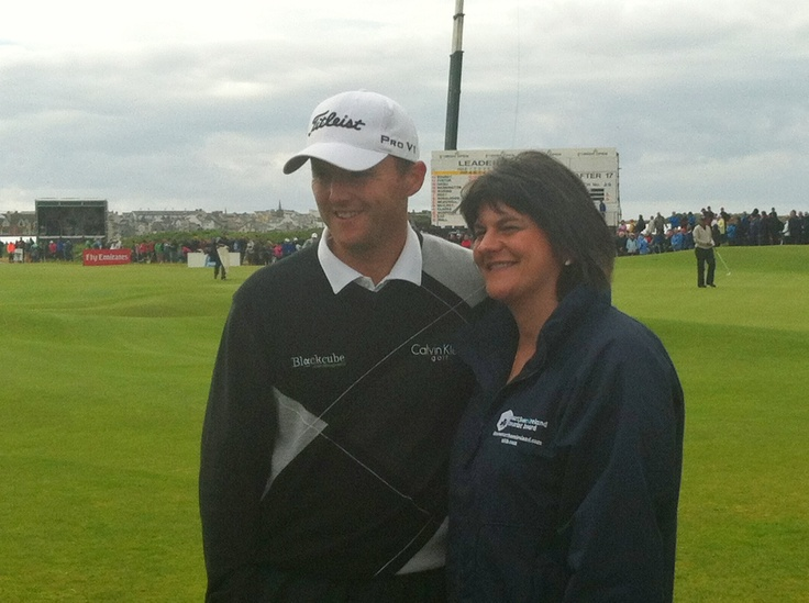 Michael Hoey with Arlene Foster at the Irish Open Royal Portrush 2012