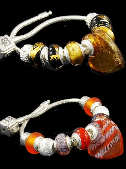 Unusual sterling silver bracelets with Pandora style Murano glass beads. Venetian bead makers are known among the costume jewelry suppliers as skilled manufacturer of glass beads with gold leafs. This silver bracelet is a precious example in amber glass and dichroic beads. Bottom: trendy sterling silver charm bracelet, one cheap Pandora charm in amber glass, two orange satin finished beads, six in zanfirico glass. Amber tonality.