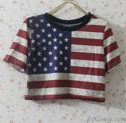 Vintage Sexy Leisure Tops & American Flag Shirt