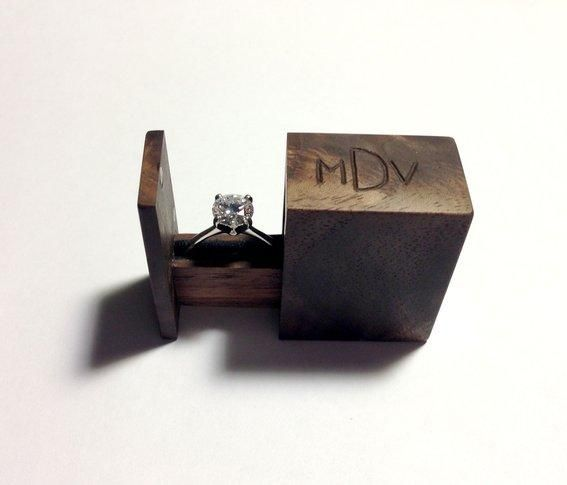 Love this handmade wooden engagement ring box. Perfect packaging for the perfect little vintage engagement ring.