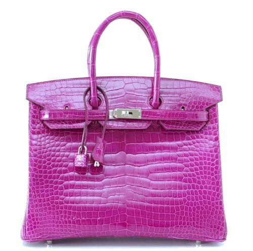 Hermes Birkin Bag 35 Porosus Crocodile Rose Scheherazade Palladium Hardware #hermes