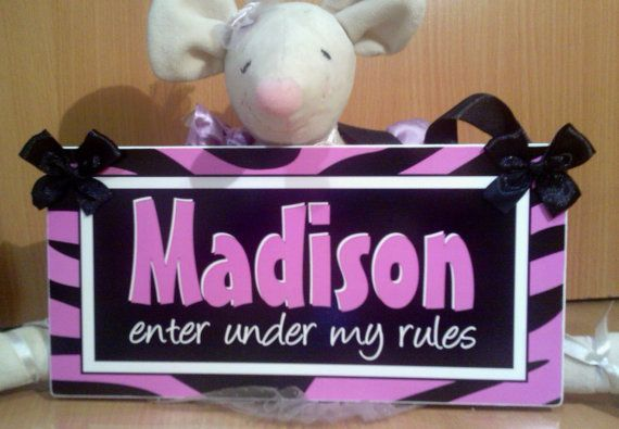Purple Lilac Zebra Print Teens Room Door Sign Decor