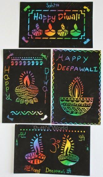Easy Kids Craft - Diwali Scratch Art Cards