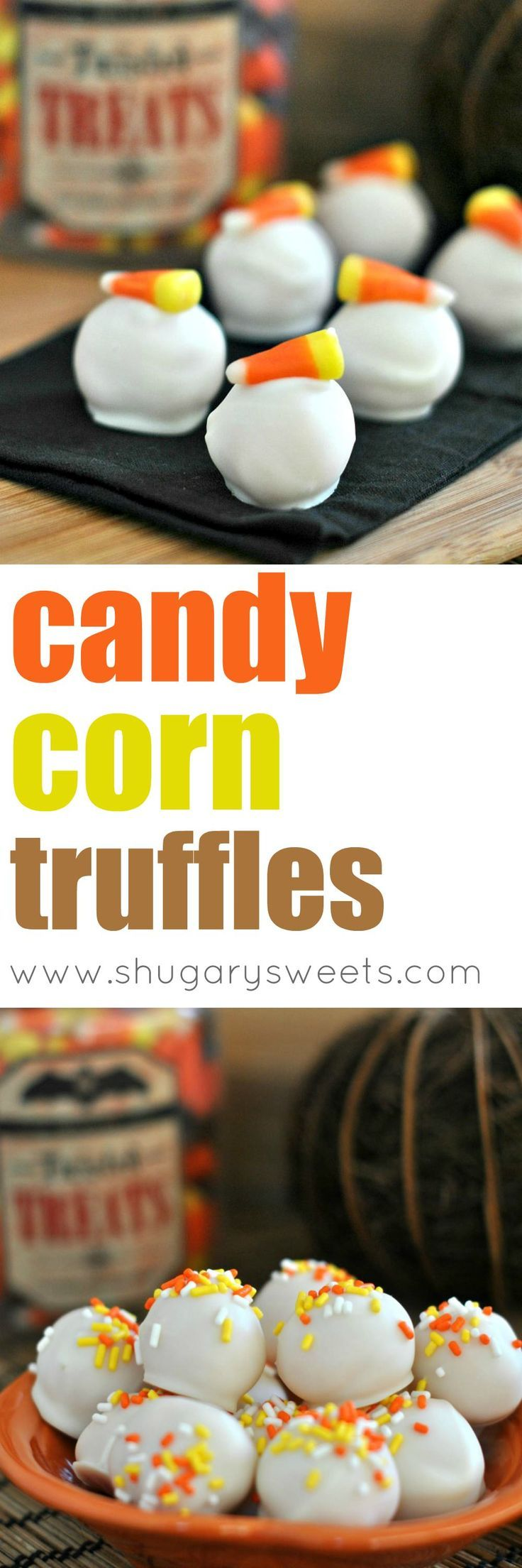 Easy Oreo truffles! Uses Candy Corn Oreos with Cream Cheese, dipped in white chocolate coating! Perfect for Halloween parties!