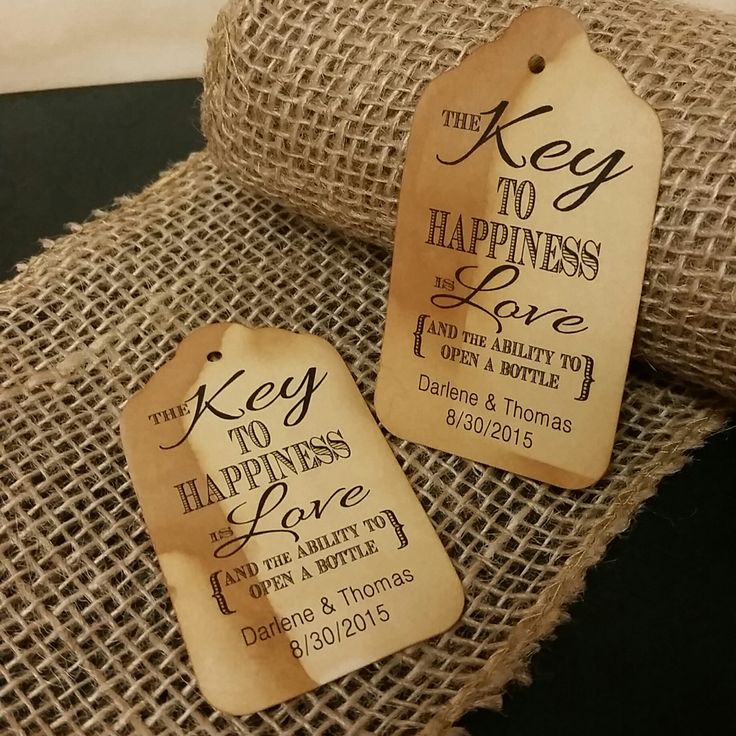 Key to Happiness is Love Bottle opener favor tag MEDIUM Tags Personalize with names and date Choose your Quantity MEDIUM by TiaZoeyTeaStained on Etsy https://www.etsy.com/transaction/1122404838