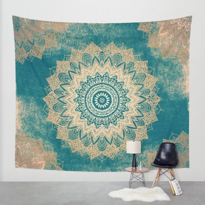 Buy GOLD BOHOCHIC MANDALA IN GREENS Wall Tapestry by Nika . Worldwide shipping available at Society6.com. Just one of millions of high quality products available.