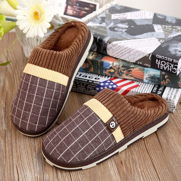New Men Home Shoes Keep Warm Indoor Cotton Plush Comfortable Slip-On Slipper Shoes