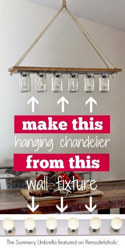 The Summery Umbrella Blog: Remodelaholic Feature: Upcycle a Vanity Light Strip to a Hanging Pendant Light