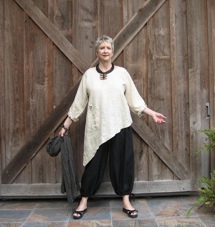 linen contemporary ethnic asymmetrical top blouse ready to ship. $132.00, via Etsy.