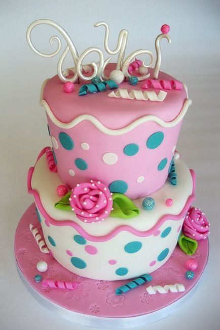 Vanilla birthday cake for tween...All I was told was that the birthday girl loves turquoise, pink and polka dots! TFL!
