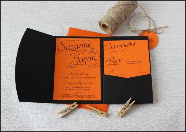 Black and orange Wedding Invitations