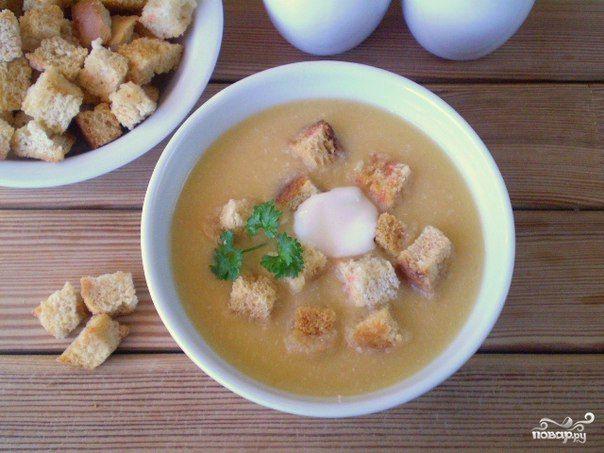 Рецепт горохового супа-пюре с гренками
