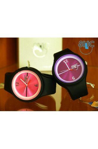 Silic Watch Color Round - růžovočerná