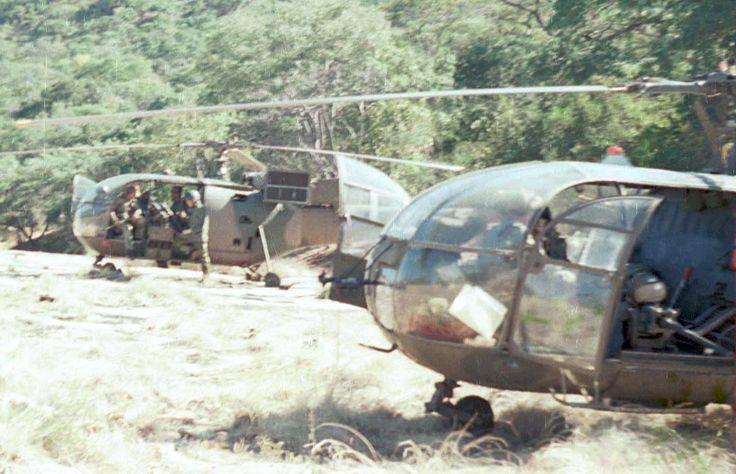Rhodesian Alouette III fire force helicopters