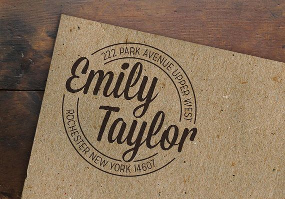 Round Custom Address Stamp •  Personalized Return Address • Wooden Handle • Circle Rubber Stamp • Made to Order