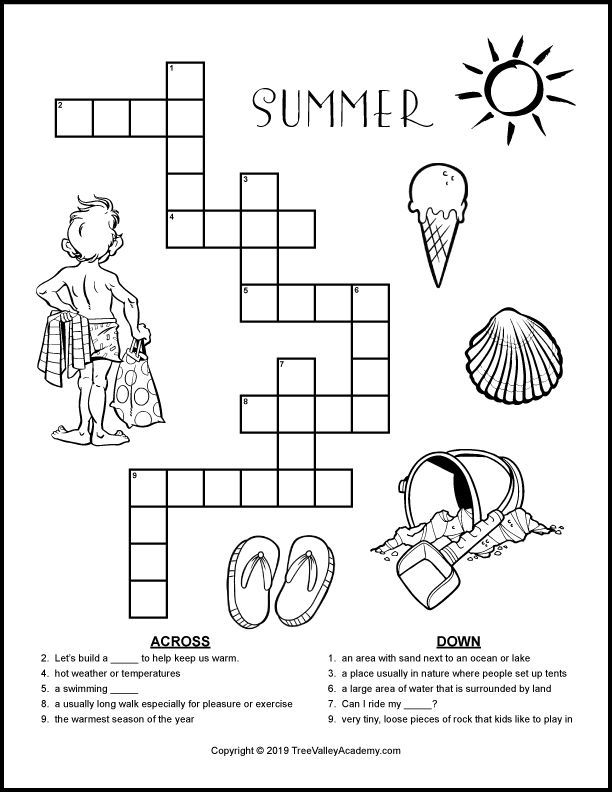Summer Crossword Puzzles For Kids Free Printable Puzzles Kids