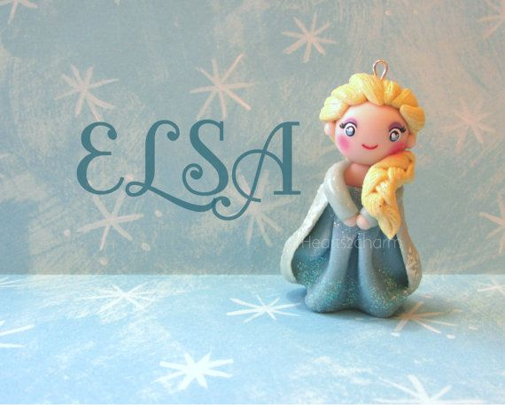 Disney's Frozen Elsa Chibi Charm. Queen Elsa of Arendelle Frozen Miniature Polymer Clay Charm. Use as a Pendant, Purse Charm, or Collectable...