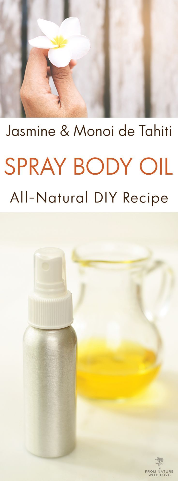 Jasmine and Monoi de Tahiti Spray Body Oil | This simple body oil formula will leave a gentle floral aroma on your skin while providing rich moisturizing benefit. Try making this recipe for yourself or as a handmade Mother's Day gift.