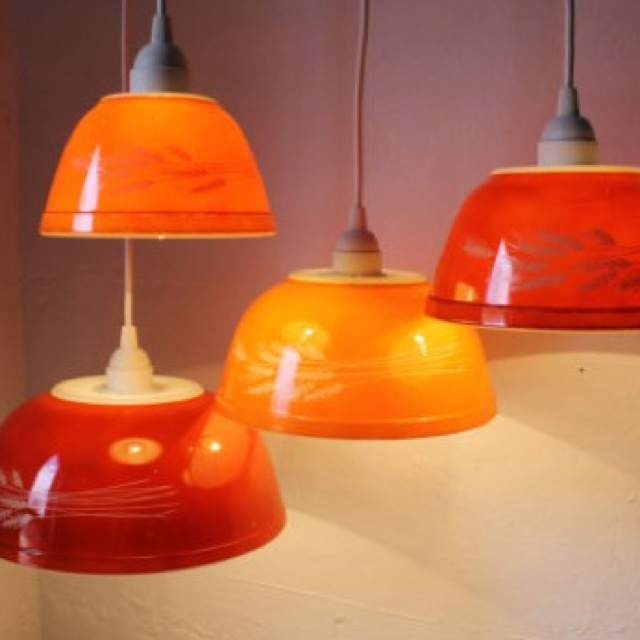 Vintage Pyrex bowl chandelier @Shannon Cook something to do with your pyrex collection :)