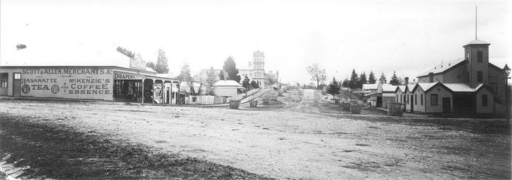 View of Bell Street Yarra Glen looking north from junction with King Street. On left is Scott & Allen's General Store, next to that is a bootmaker, then the house of Charles Bath, the Grand Hotel and the Colonial Bank building. On the eastern side of Bell Street (right hand side of photograph) is the Victoria Hall. Beyond that is W.J.Dawborn's General Store, then Smith's bakery, and  'Point Pleasant' owned by Herbert family. http://victoriancollections.net.au/items/4f72a4bf97f83e030860248e