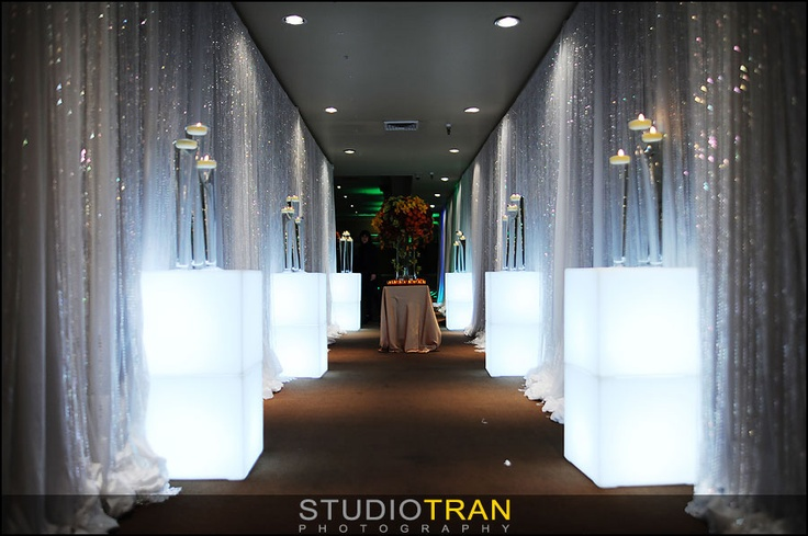 Lighted Cubes With Crystal Beaded Curtain Over White