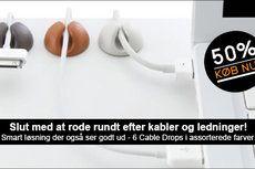 Smart design der holder styr på kabler og ledninger - 1 pakke med 6 stk. Cable Drops fra Tryus.dk, ass. farver, værdi kr. 129