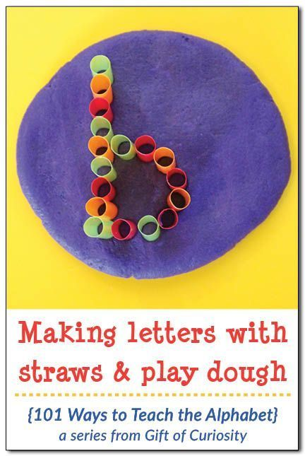 Make letter with straw and play dough.  A great sensory activity to reinforce letter recognition.