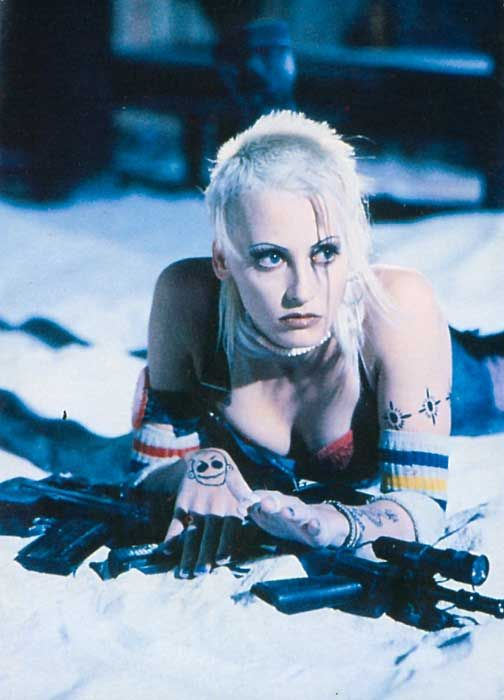 Tank girl movie snapshot with the actress when she just about escaped the water works.