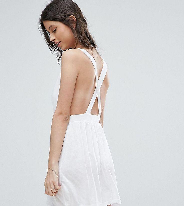 ASOS PETITE Cross Back Jersey Mini Beach Dress - White