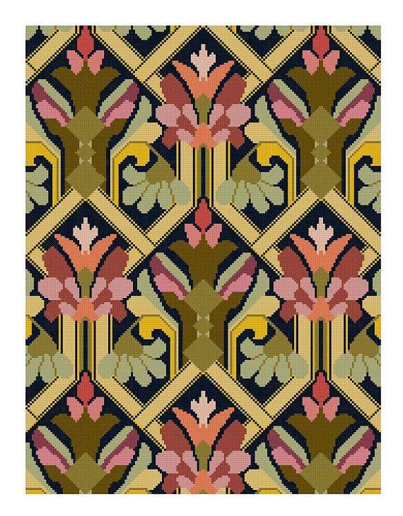 Cascade Purple and Yellow Floral cross stitch pattern pdf