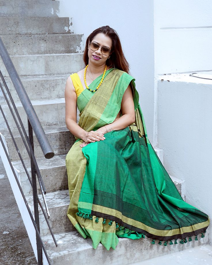 Green pure Linen #Saree