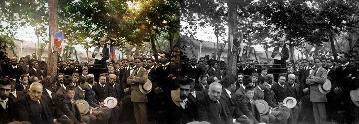 Intendente de Curicó en discurso inauguración monumento a Luis Cruz en 1912